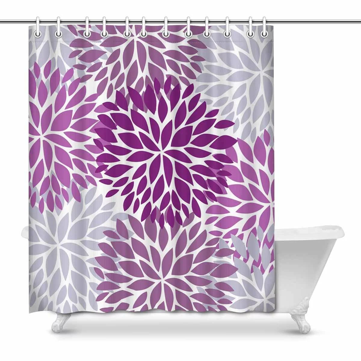 mkhert dahlia pinnata flower purple and gray waterproof shower curtain decor floral fabric bathroom set 66x72 inch walmart com