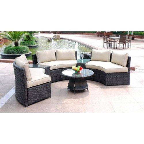 6 piece curved outdoor sofa 9 feet sectional patio furniture set resin wicker rattan 3 sofa lounges 3 tables 9 cushions model 008