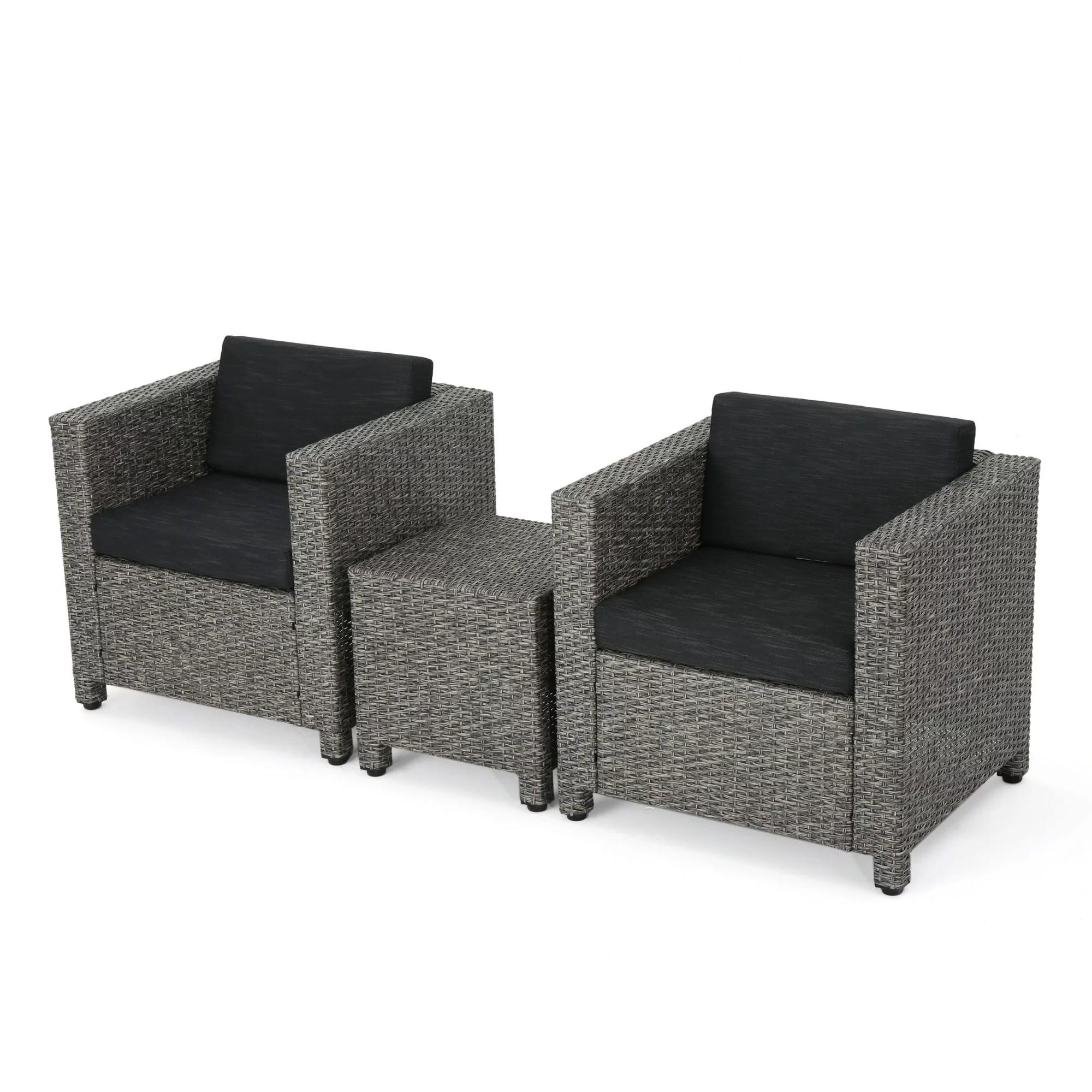 3 piece black finish wicker outdoor furniture patio chat set dark gray cushions walmart com