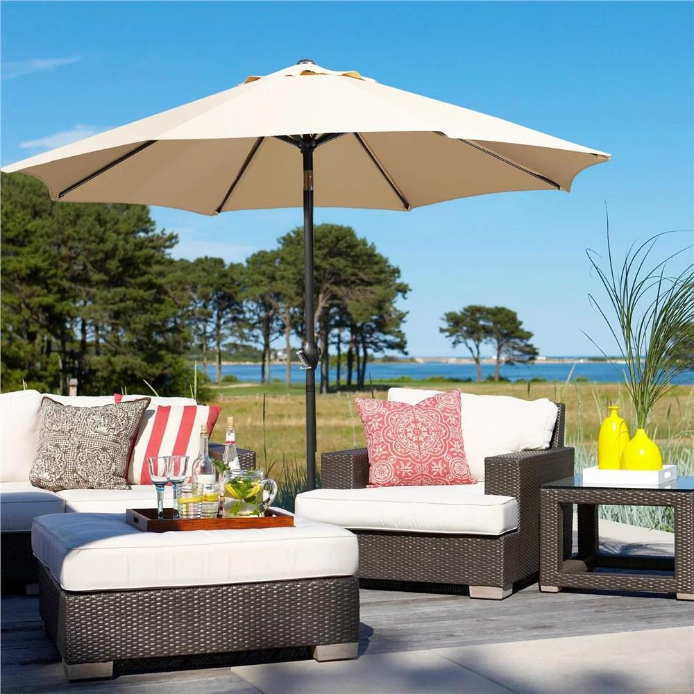 yaheetech 9ft patio umbrella 8 ribs market umbrella w push button tilt and crank for garden deck backyard pool beach tan