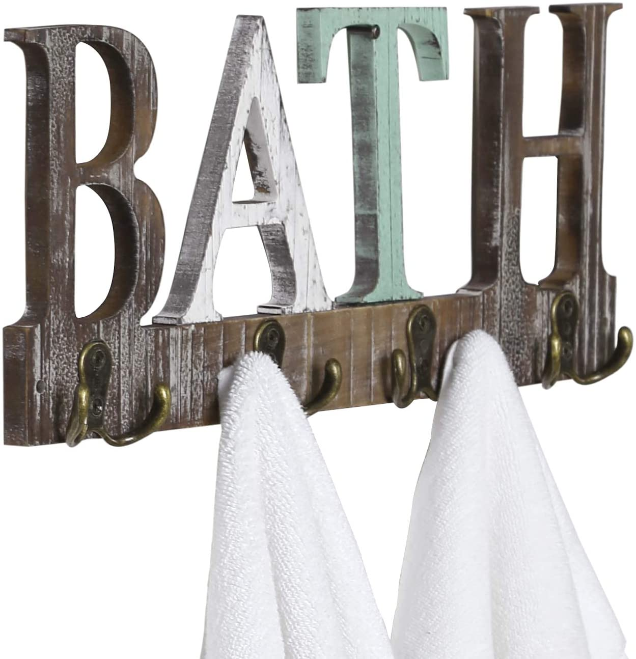 mygift wall mounted multi color wood towel rack with bath cutout letters
