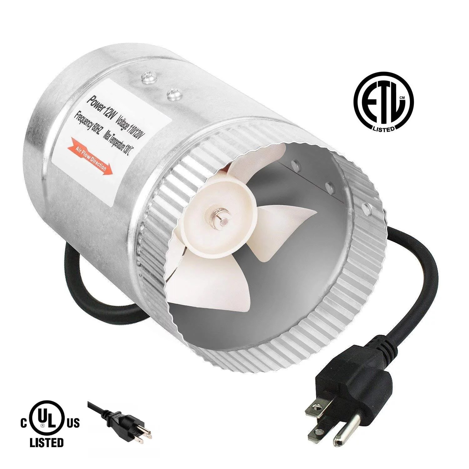 ipower 4 100 cfm booster fan inline duct vent blower for hvac exhaust and intake 5 5 grounded power cord walmart com