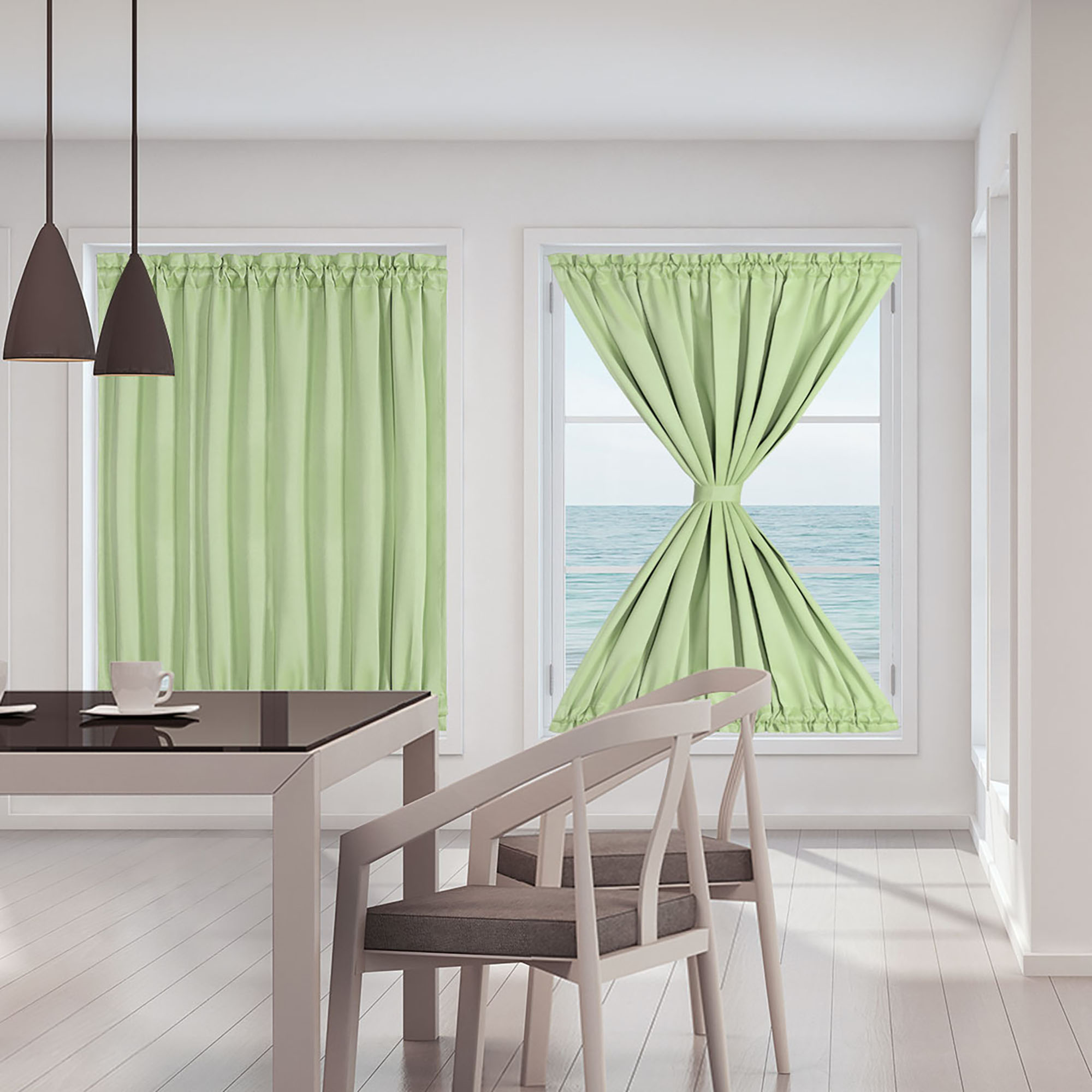 French Door Curtains Thermal Insulated Blackout Curtain Rod Door Curtain Panel 2 Panels Green 25 X 40 Walmart Com Walmart Com