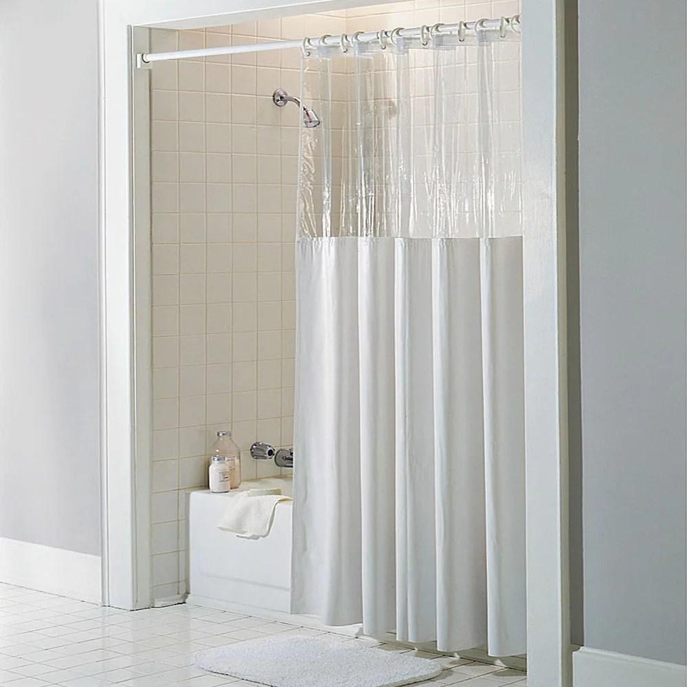 see through top clear white vinyl bath shower curtain 72 x 72