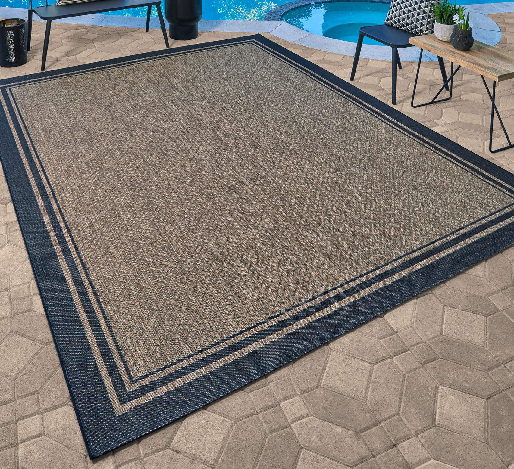 gertmenian 21358 nautical tropical carpet outdoor patio rug 5x7 standard border black