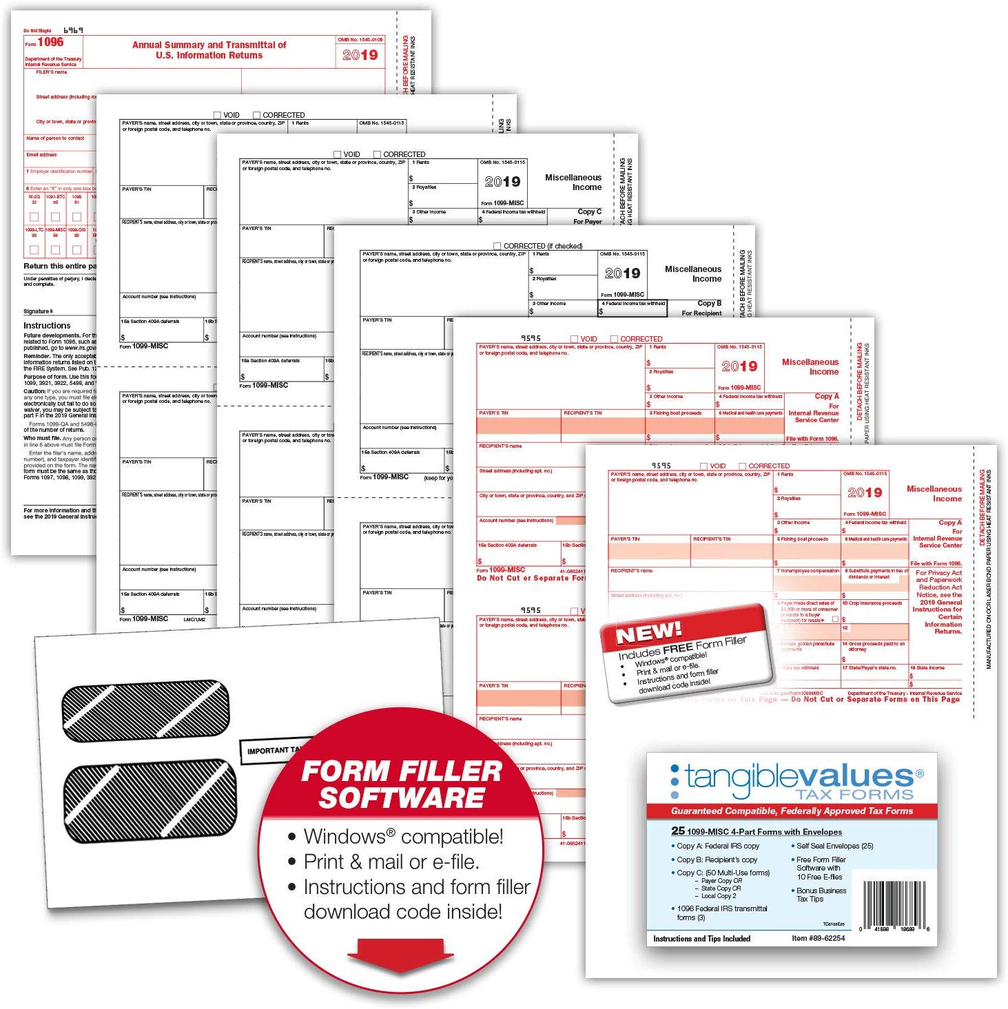 Misc 4 Part Tax Form Kit For 25 Designed For