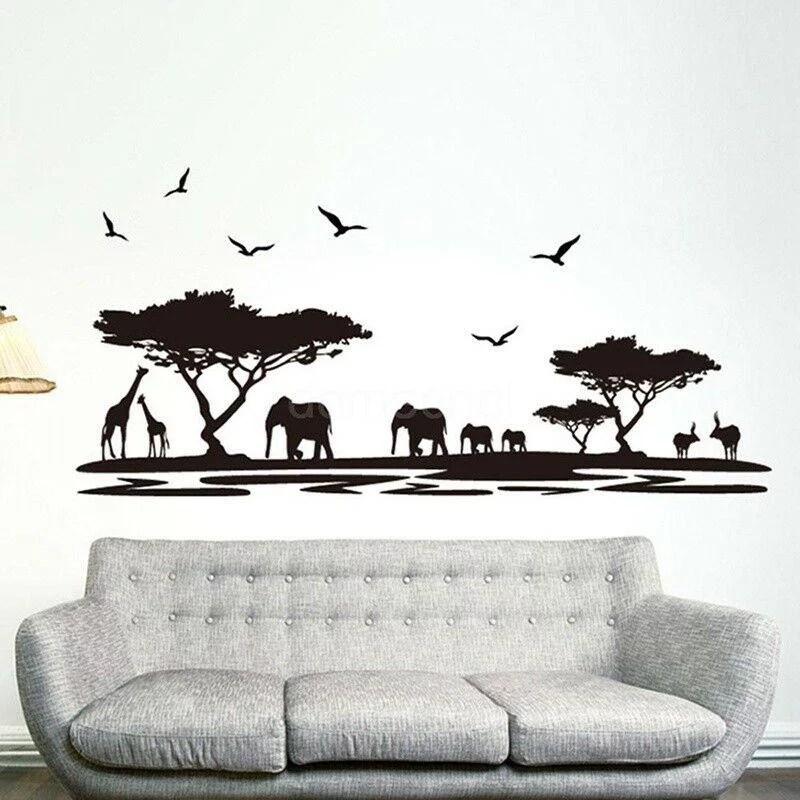 African Safari Themed Wall Sticker Jungle Animal Tree Mural Home Room Decor Walmart Canada