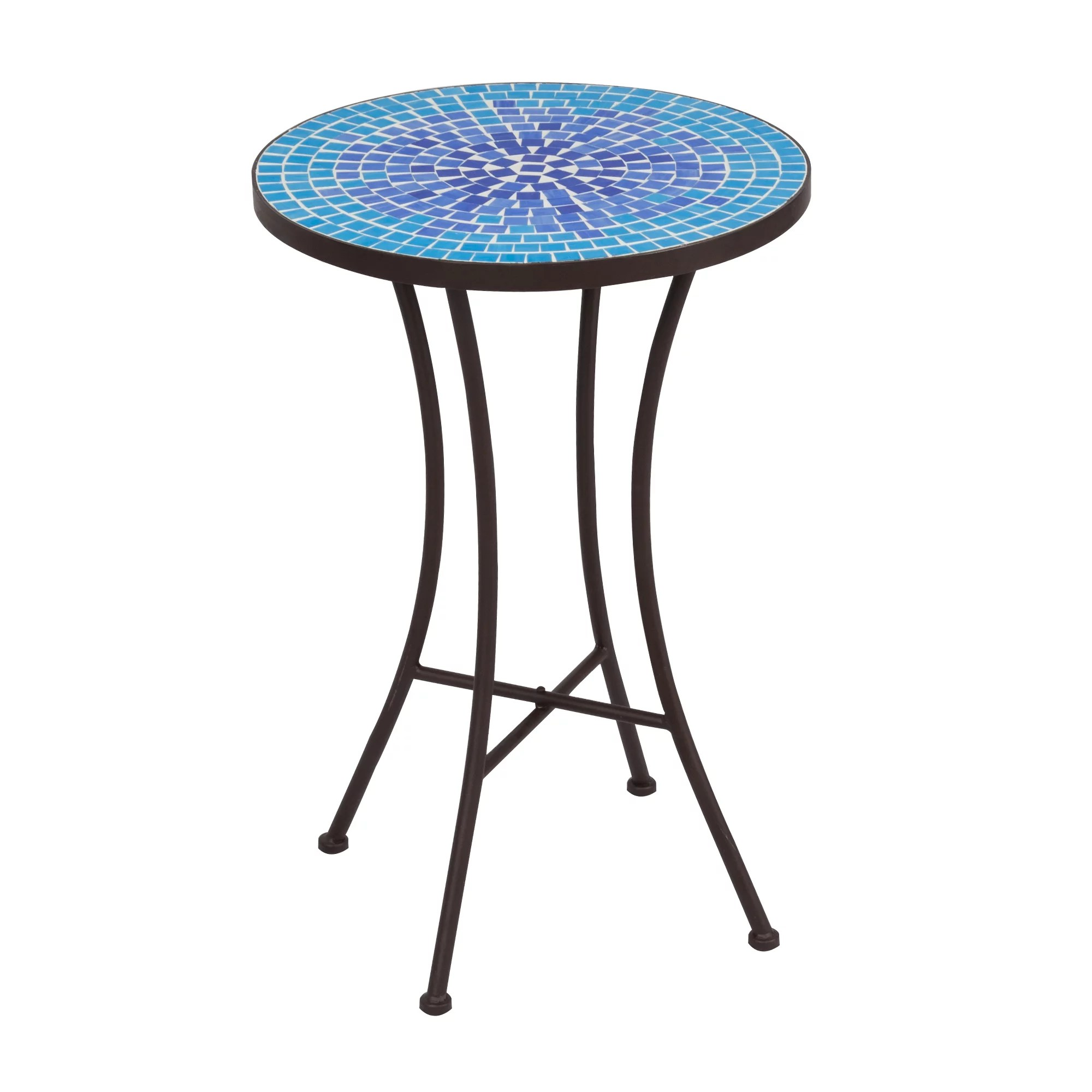 mosaic side table blue mini cobble pattern