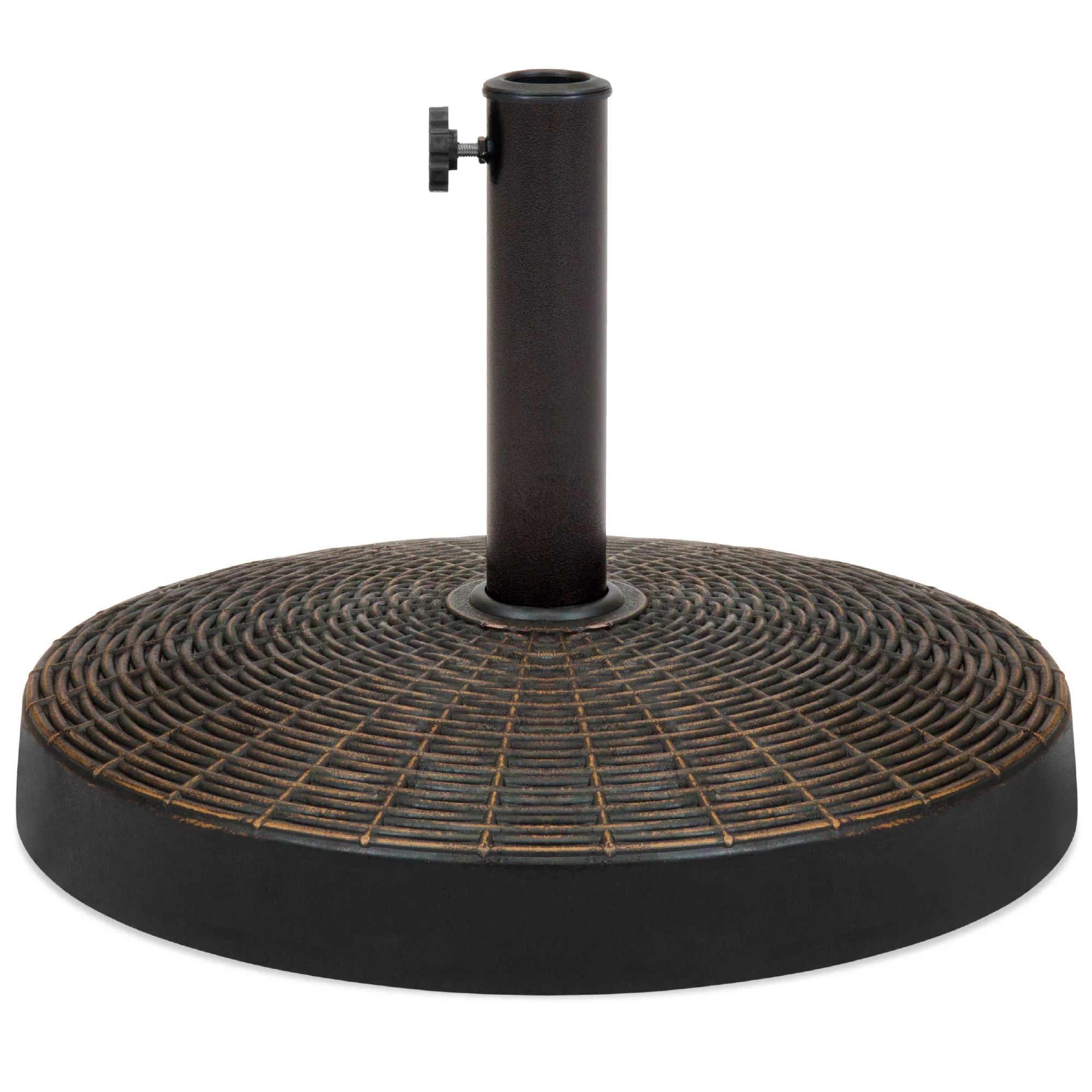 best choice products 55lb round wicker style resin patio umbrella base stand w 1 75in hole bronze finish black walmart com
