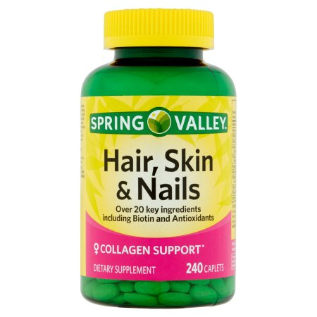 spring valley hair skin nails plus biotin caplets 3000 mcg 240 ct walmart