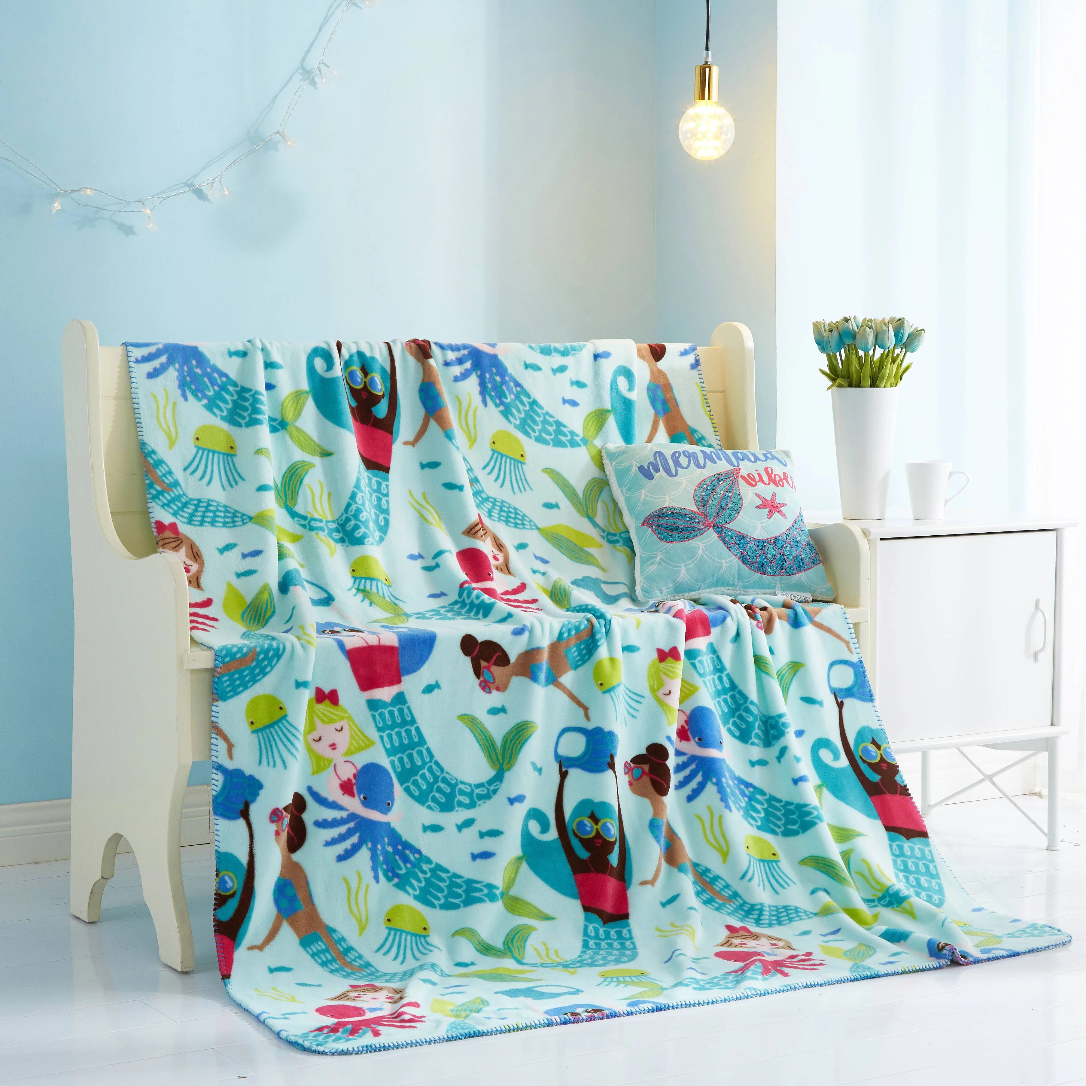 mermaid plush pillow throw combo for kids by your zone walmart com