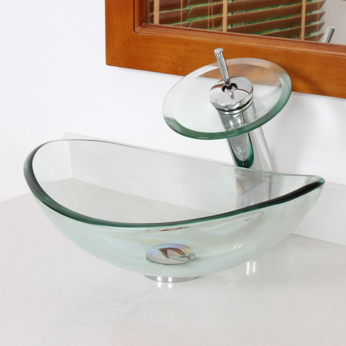 wonline oval clear tempered glass bathroom vessel sink bowl without overflow equipped with waterfall glass faucet pop up drain combo walmart com