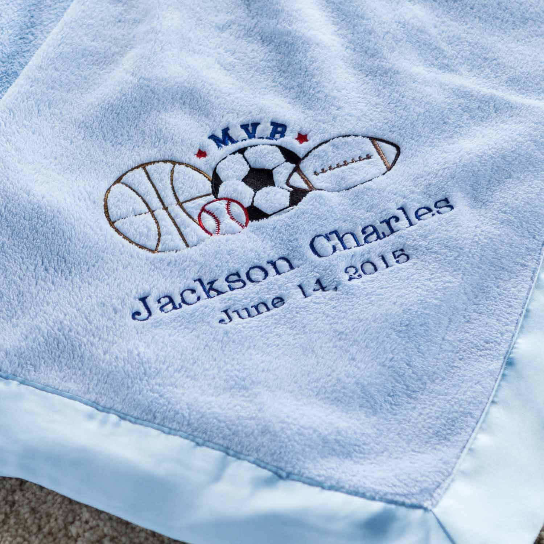 Personalized M.V.B Blue Baby Blanket