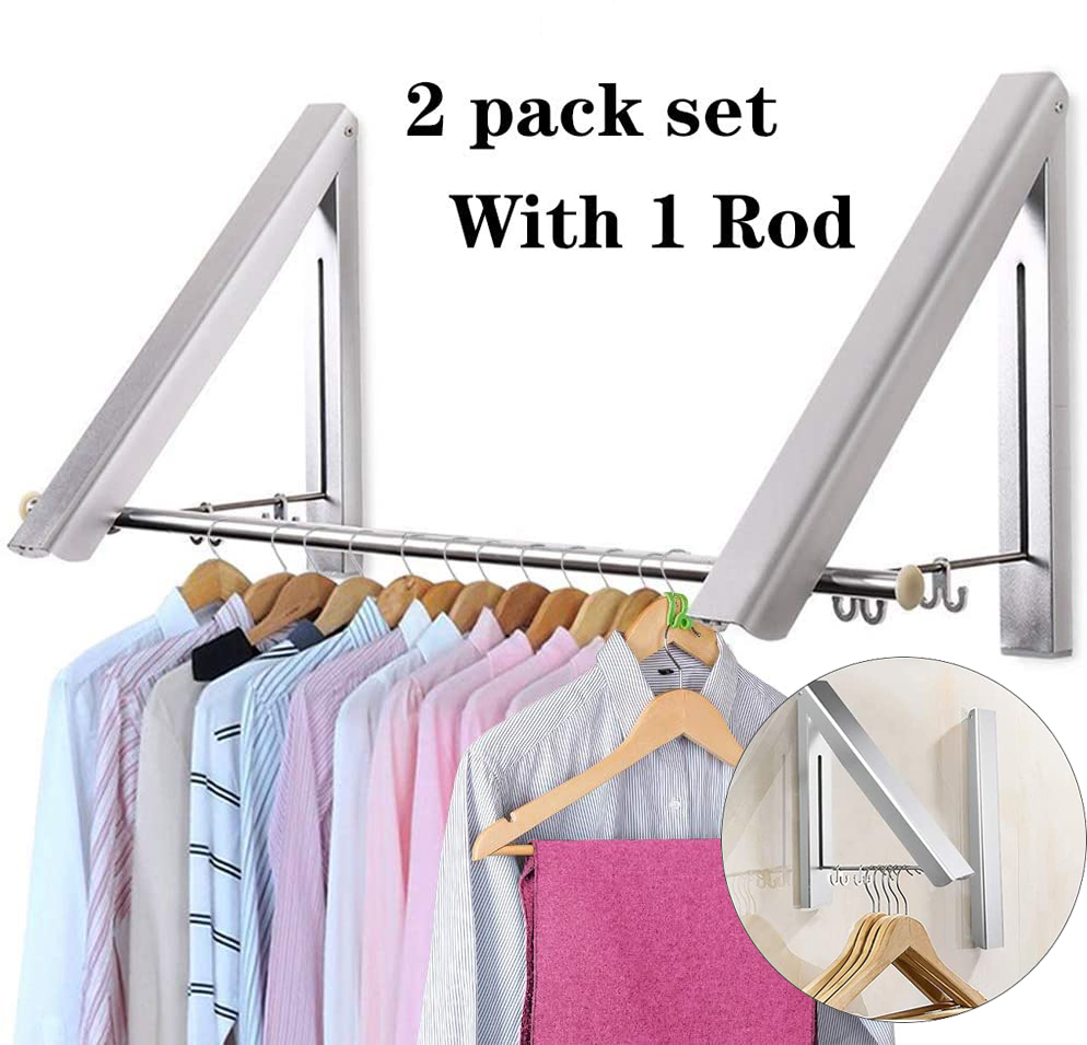 amerteer retractable clothes drying rack easy installation wall mounted collapsible clothes hanger rack space saving hanging racks for laundry room