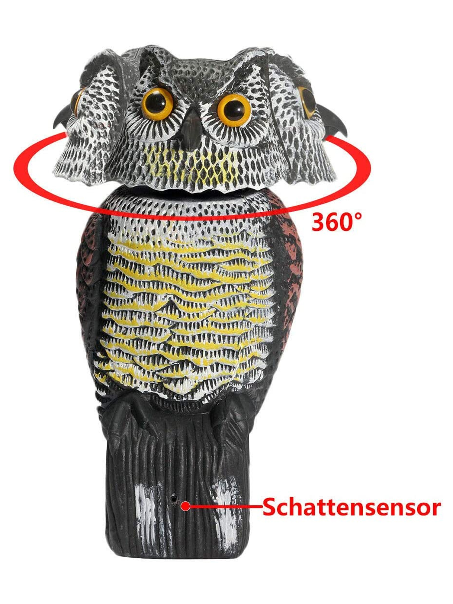 owl decoy 360 rotate head to scare birds scarecrow owl decoy statue realistic scary sounds shadow fake owl outdoor pest bird deterrent for patio