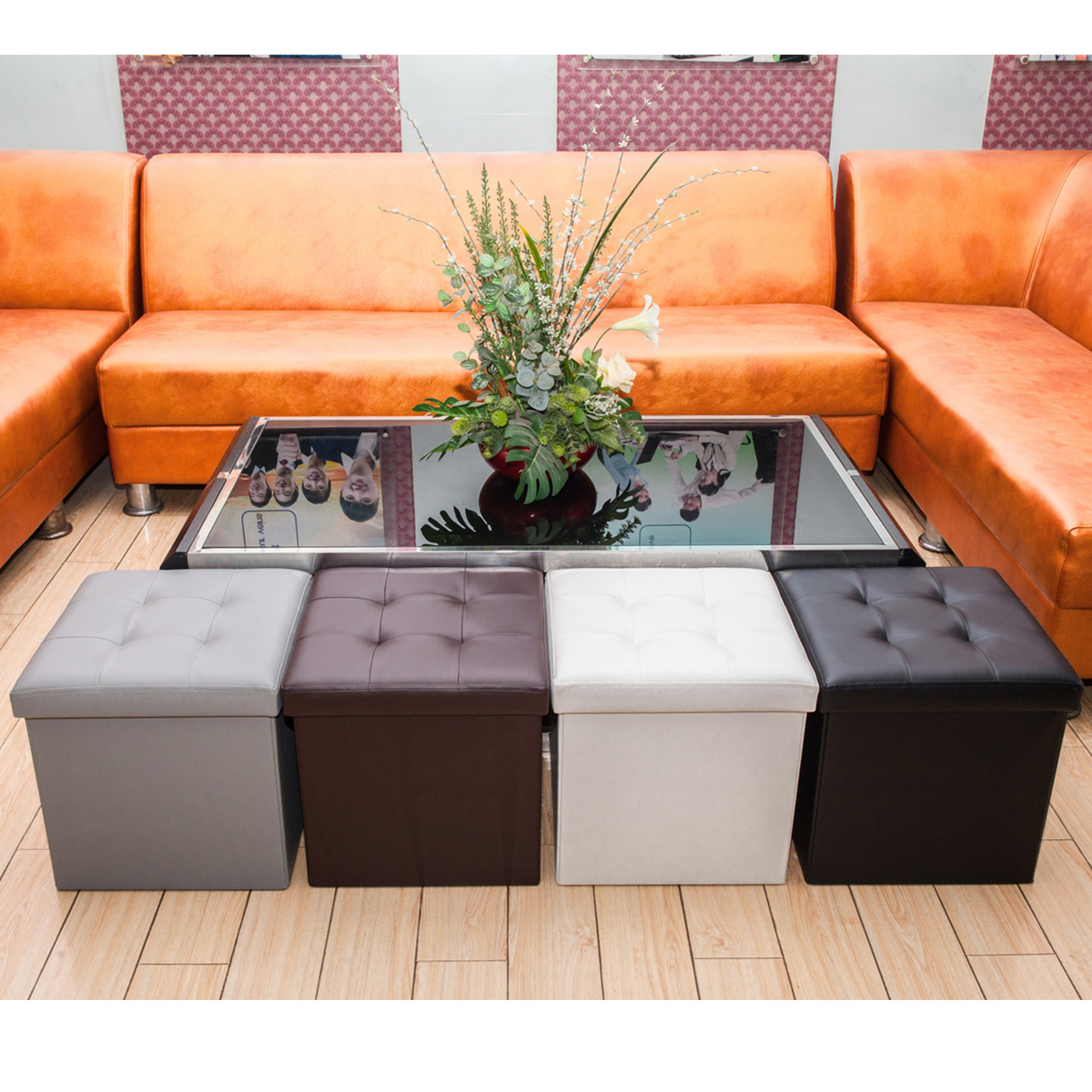 topcobe storage ottoman multipurpose square ottoman for bedroom living room leather ottoman pouffe storage box footstools foot rest ottoman
