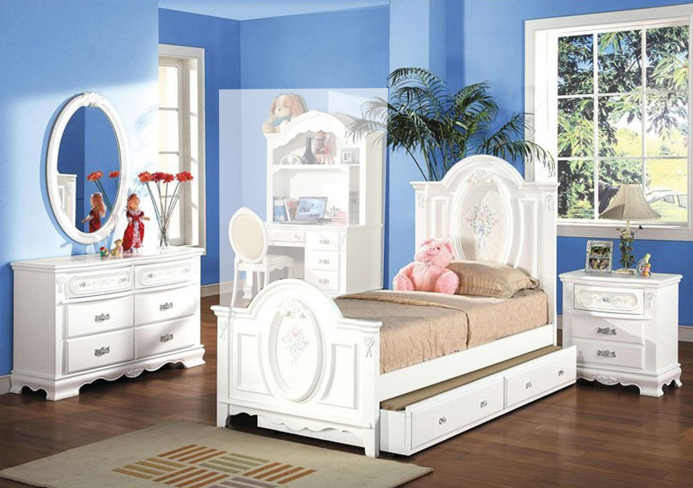 4pc flora collection girls youth room bedroom set twin size bed white combo set