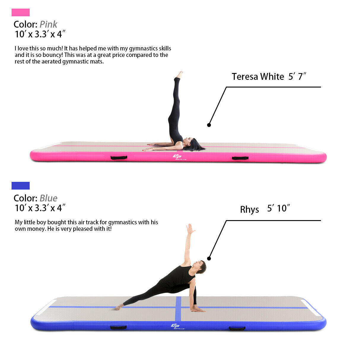 costway tapis gonflable de gymnastique
