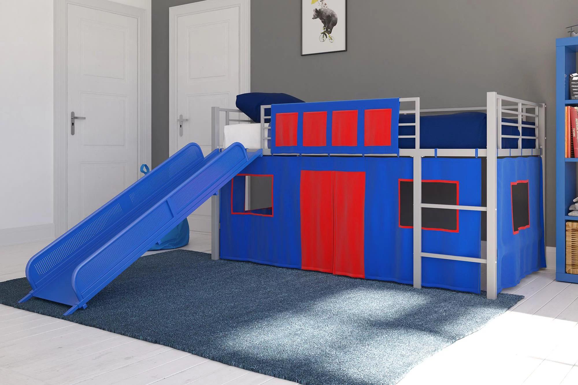 dhp junior silver loft bed with blue slide and blue curtain set kid s bundle twin walmart com