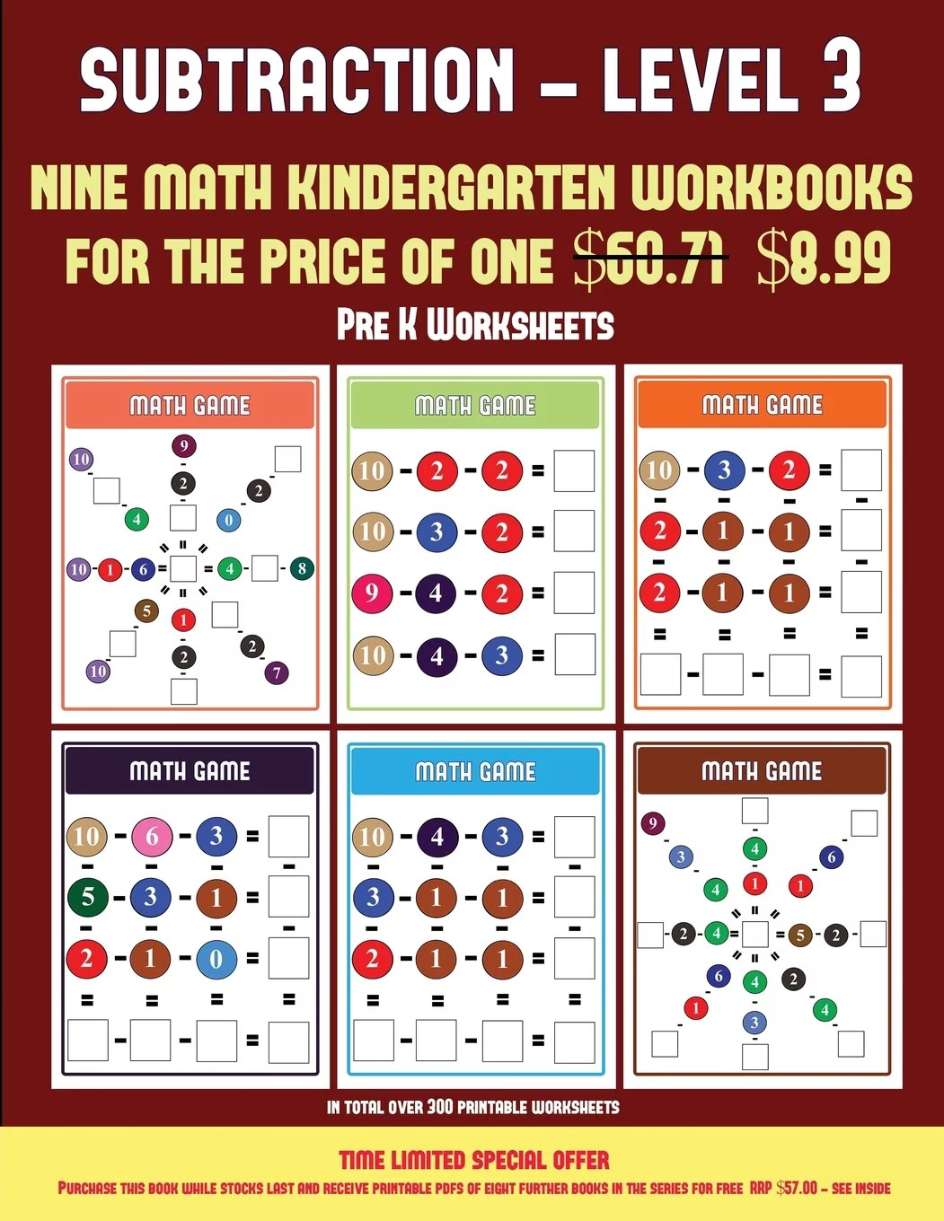 Pre K Worksheets Kindergarten Subtraction Taking Away