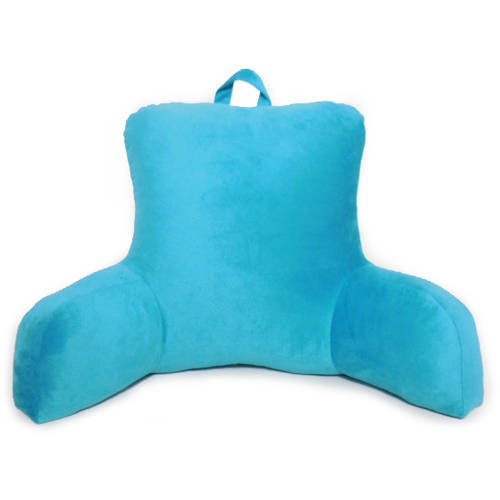 mainstays bed rest lounger pillow faux mink fabric with polyester filling 27 x 14 x 18 solid color teal