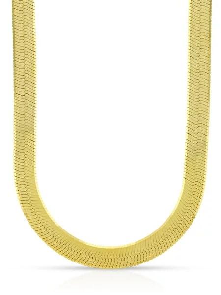 10k Yellow Gold 6mm Herringbone Chain Necklace 16 24