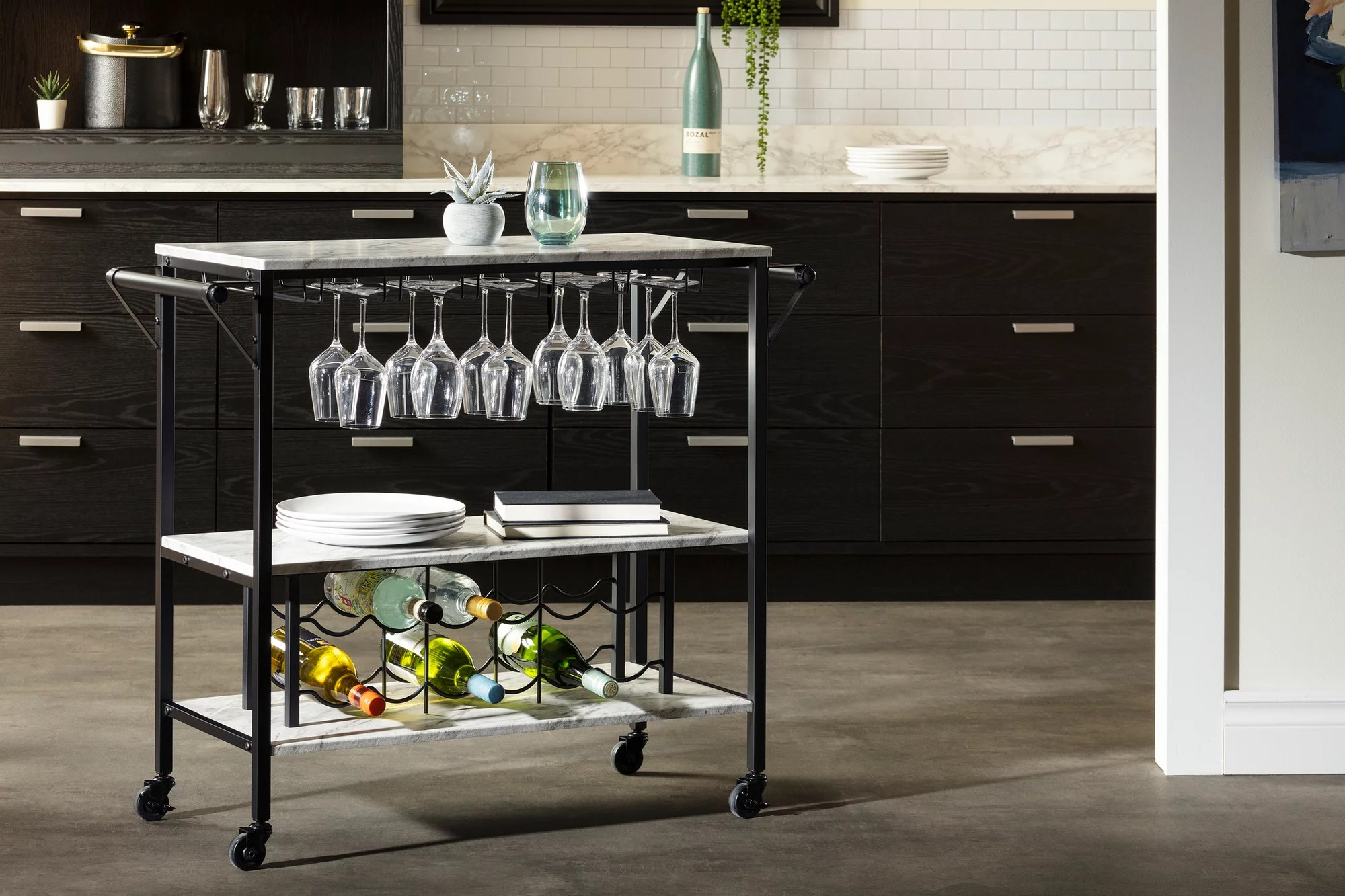 south shore maliza bar cart with wine bottle storage and wine glass rack faux marble and black