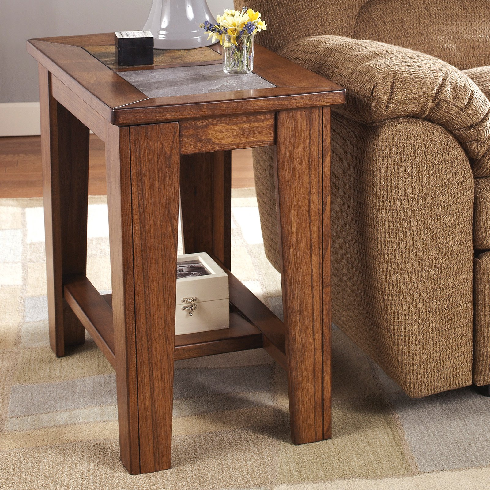 Toscana Chair Side End Table Rustic Brown