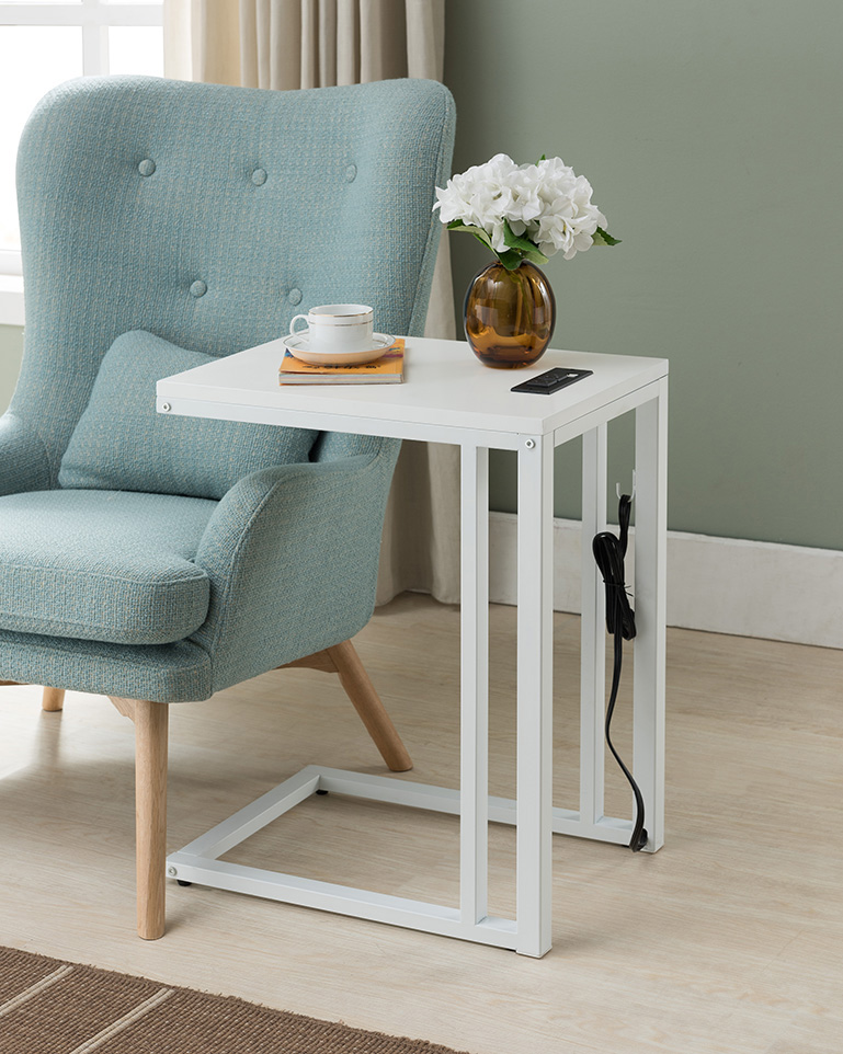 soho c table with usb charging station in white