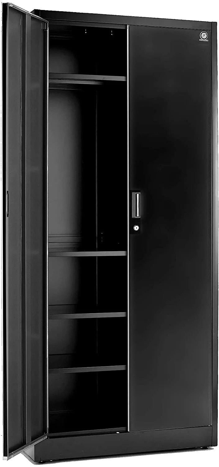 Storage Cabinets With Doors And Shelves 71 Tall Lockable Metal Cabinet 5 Adjustable Shelves For Tools Sturdy Utility Locker For Garage Kitchen Pantry Office Patio Black Doors Walmart Com Walmart Com