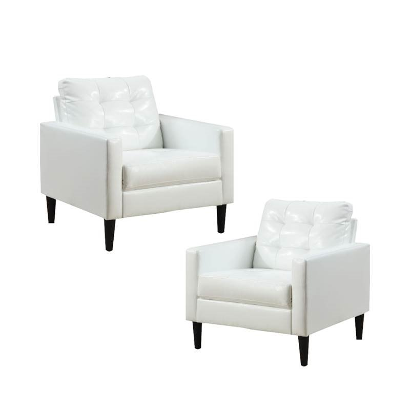 set of 2 accent chair in white