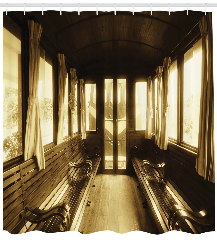 antique decor shower curtain set vintage train salon inside historic transport windows with curtains arch shape ceiling bathroom accessories 69w x