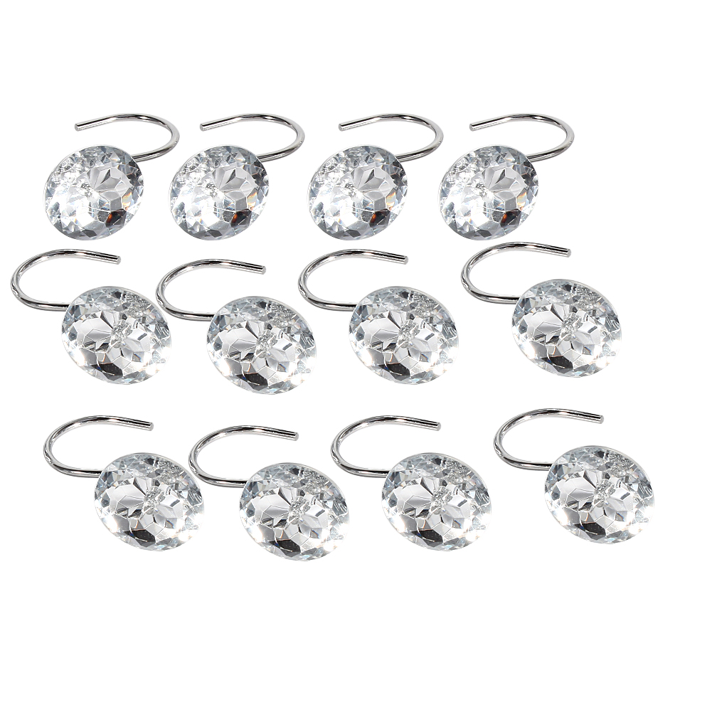 shower curtain hooks diamond shape shower rings round acrylic decorative rhinestones bling rolling bathroom bath set of 12 rings