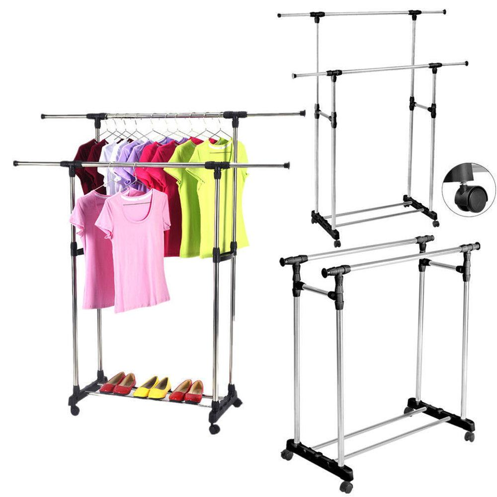 zimtown portable double adjustable heavy duty clothes hanger rolling rail