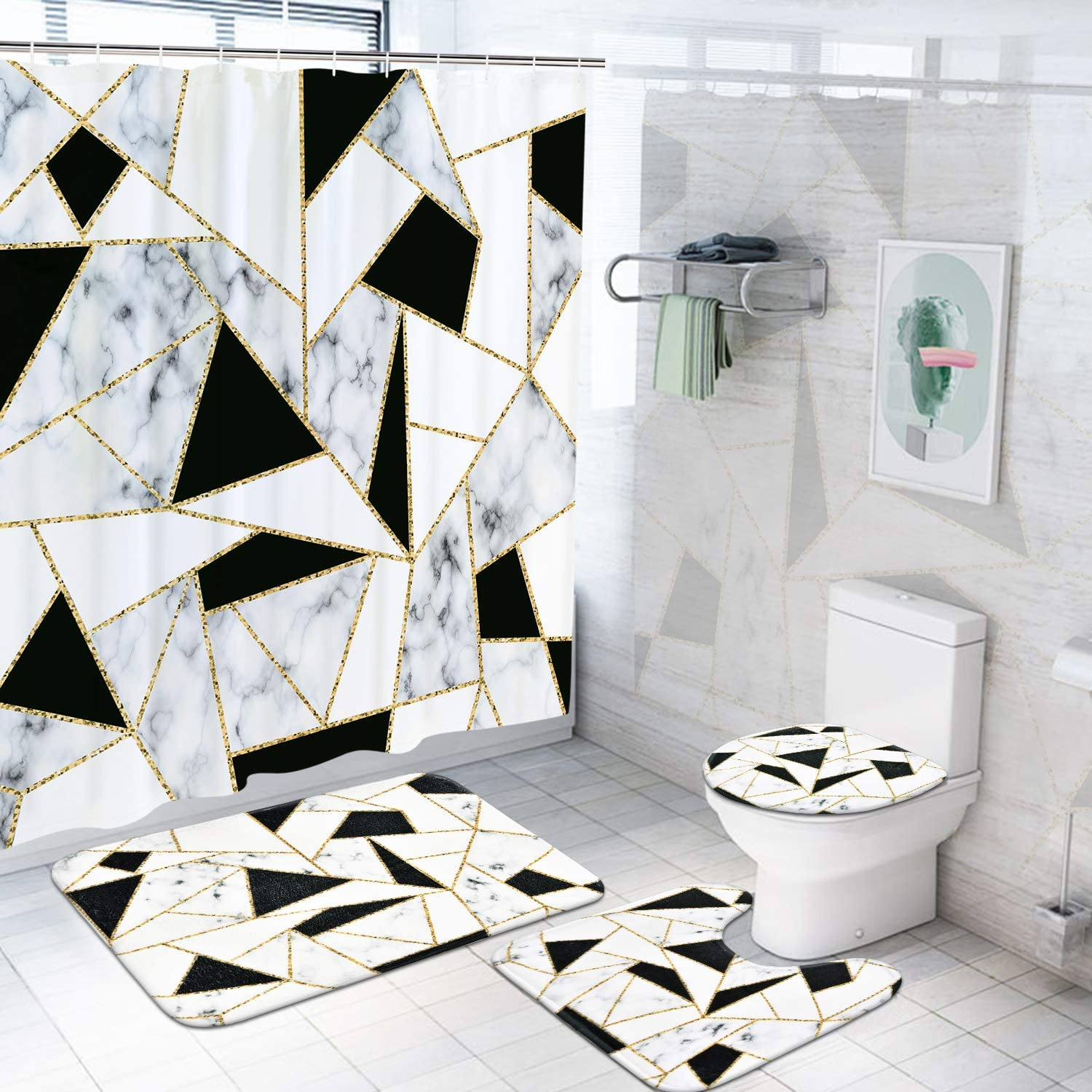 decorx 4 pcs marble shower curtain set with rugs toilet lid cover bath mat black white geometric splice shower curtain with 12 hooks durable