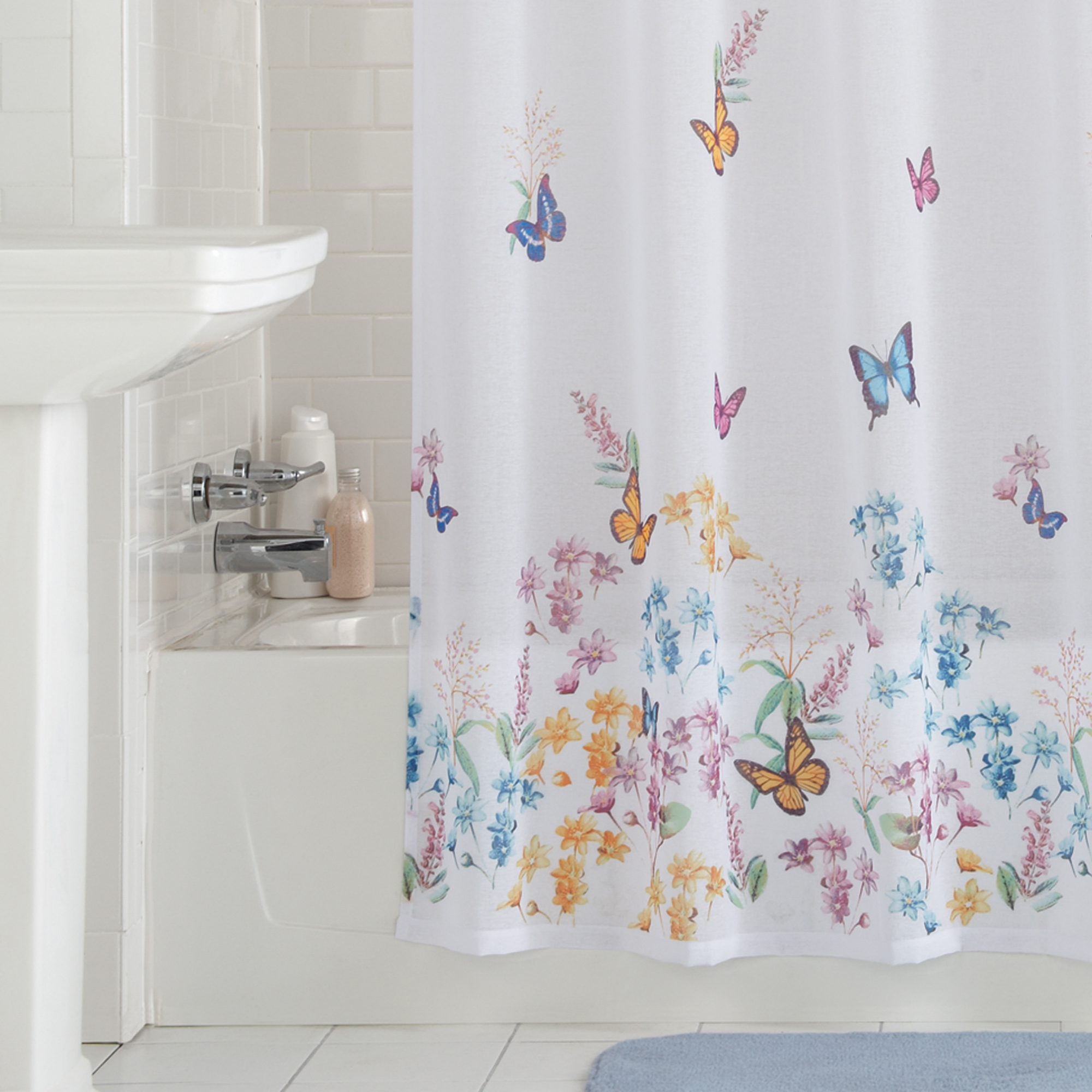 mainstays butterfly semi sheer fabric shower curtain 70 x 72