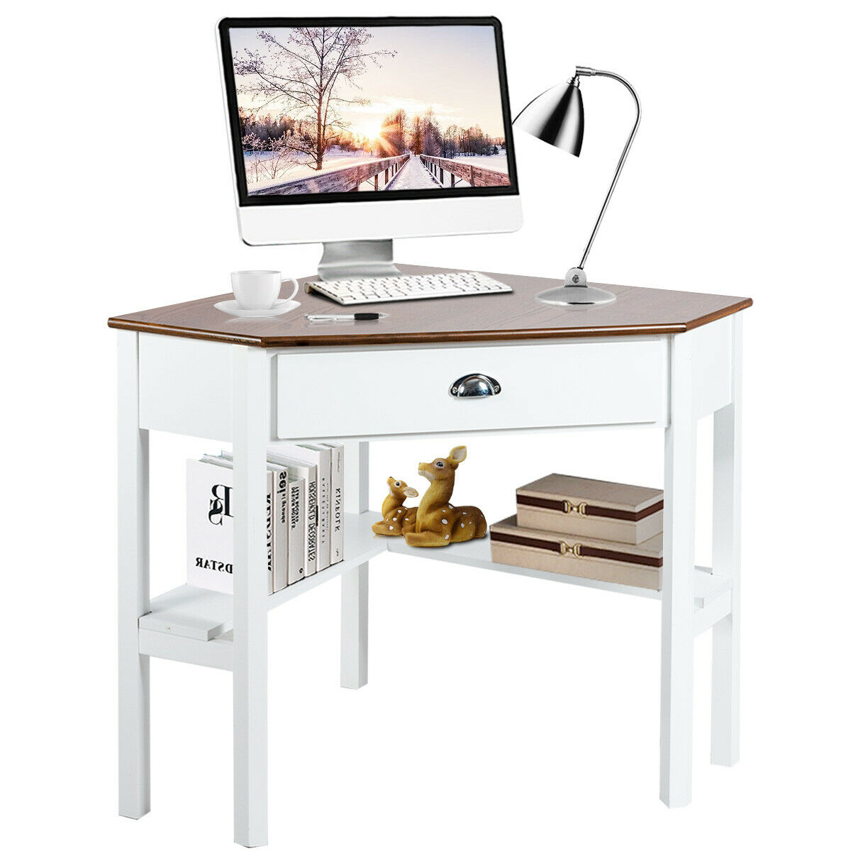 gymax corner computer desk laptop writing table workstation w drawer shelves natural