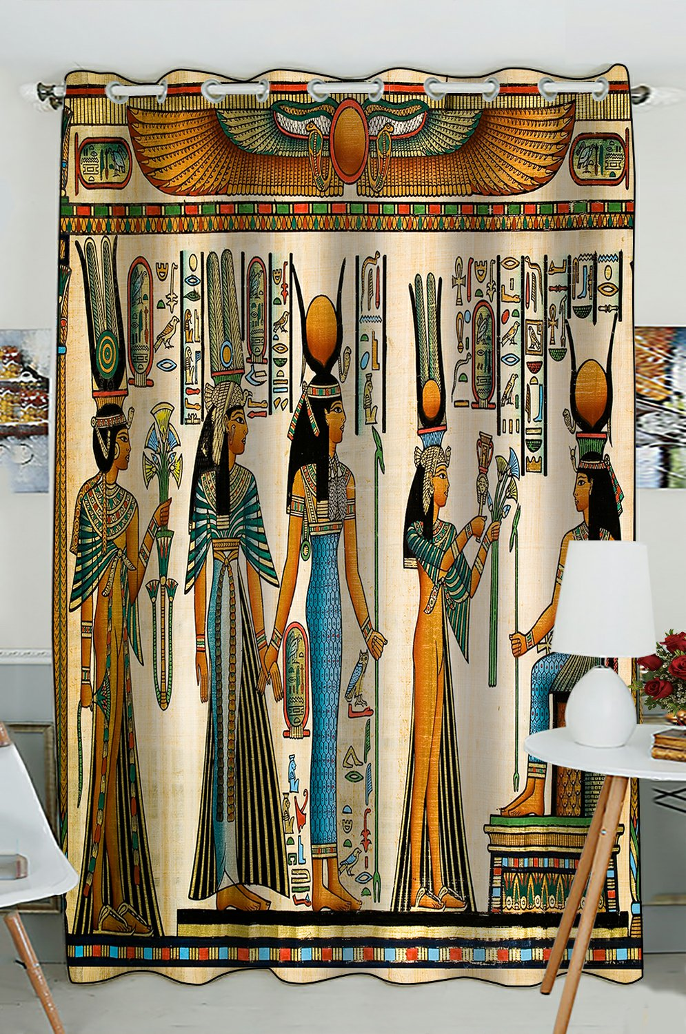 phfzk african design window curtain egyptian queen ancient window curtain blackout curtain for bedroom living room kitchen room 52x84 inches one