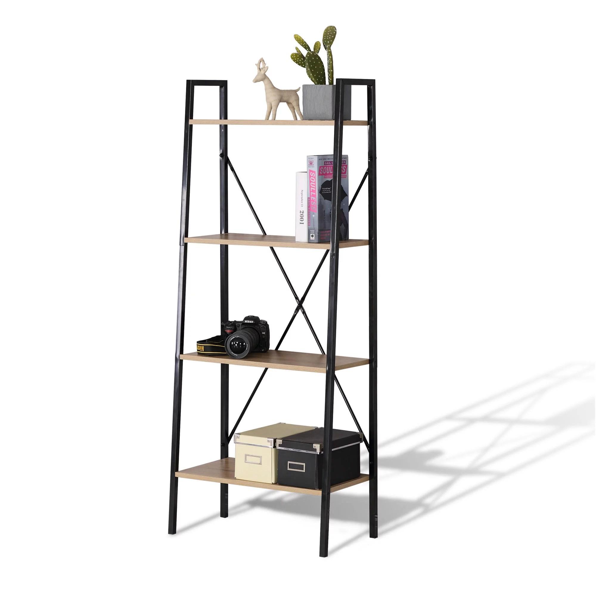 etagere d echelle en bois a 4 niveaux pour livres et plantes etagere bibliotheque etagere de rangement balcon armoire murale etagere organisateur de