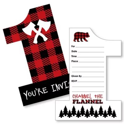1st birthday lumberjack channel the flannel shaped fill in invitations buffalo plaid first birthday party invitation cards with envelopes set