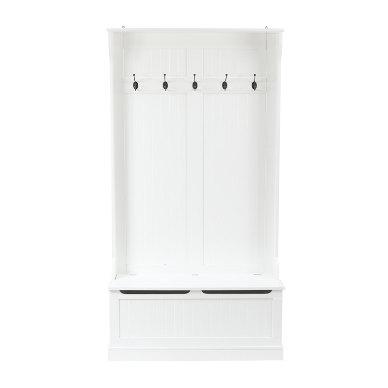 luxen home white mdf hall tree with storage bench