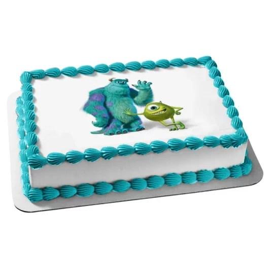 Disney Pixar Monsters Inc James P Sulley Sullivan Mike Wazowski Edible Cake Topper Image Walmart Com Walmart Com