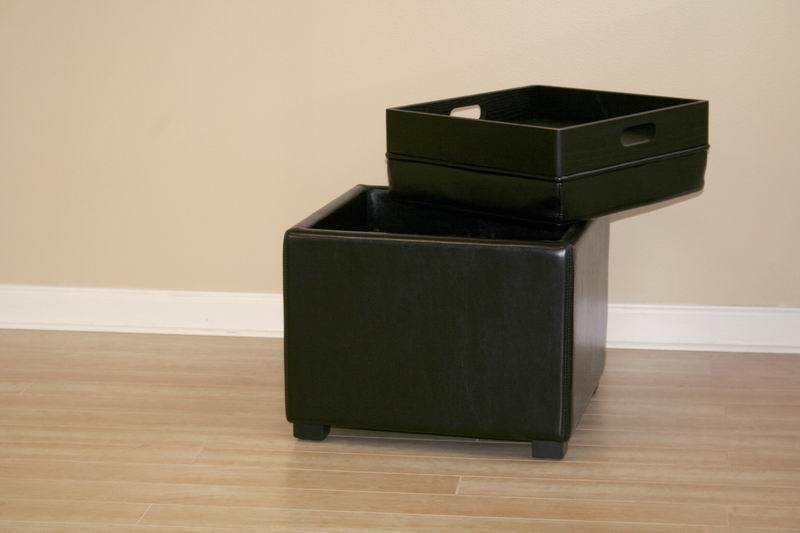 leather storage ottoman with reversible tray top