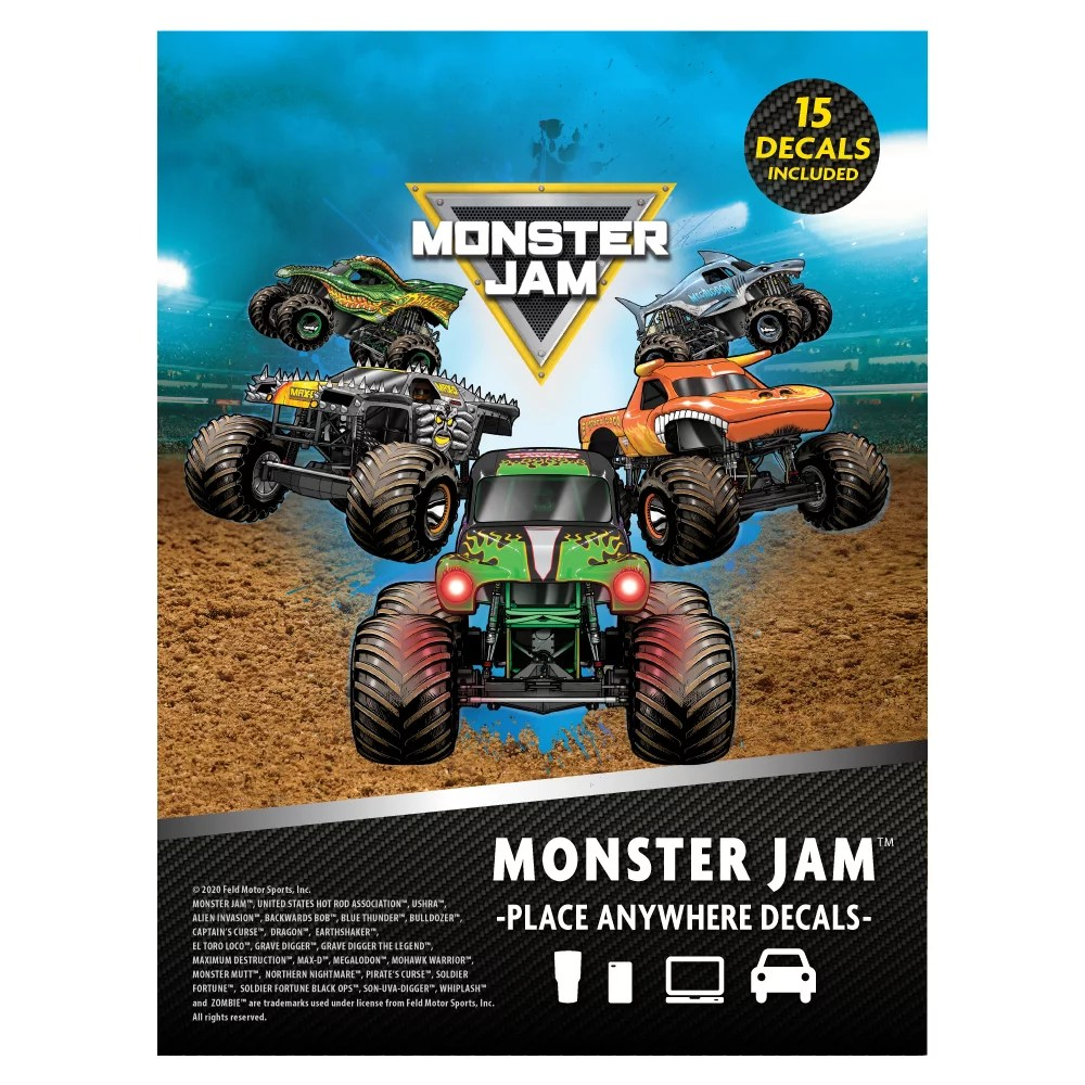 monster jam trucks decal pack set of 15 monster truck stickers monster jam decals includes grave digger el toro loco max d zombie megalodon dragon
