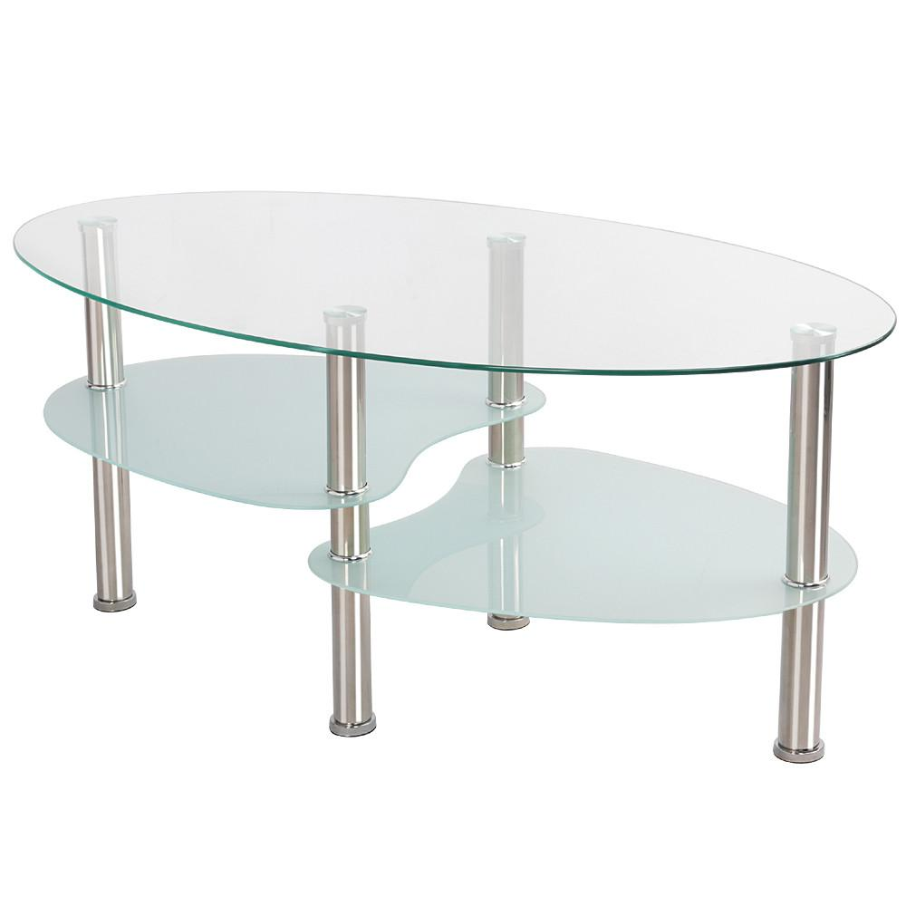 3 tier modern living room oval glass coffee table round glass side end tables with chrome finish legs cocktail table