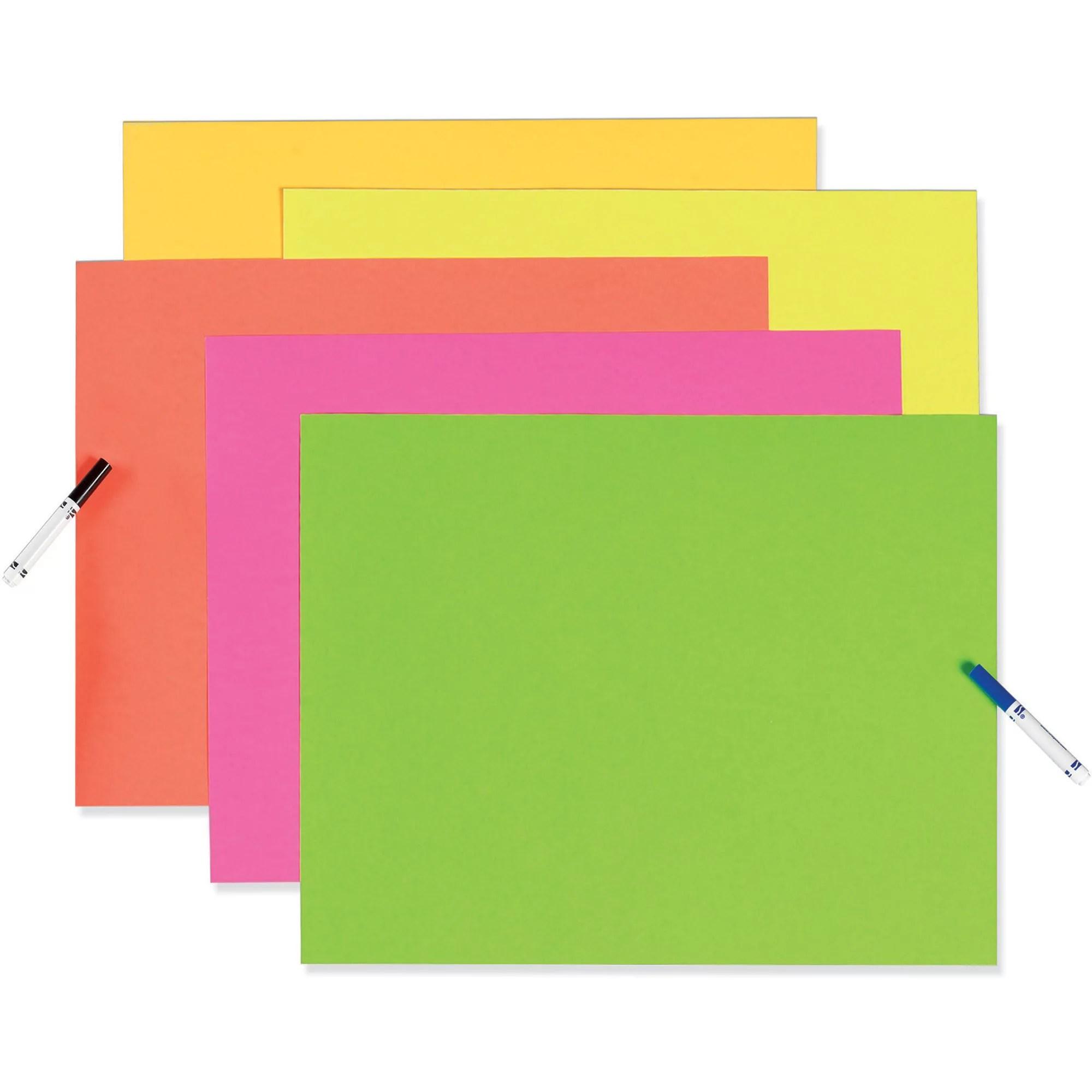 pacona neon poster board 22 x 28 assorted neon colors 25 sheets walmart com