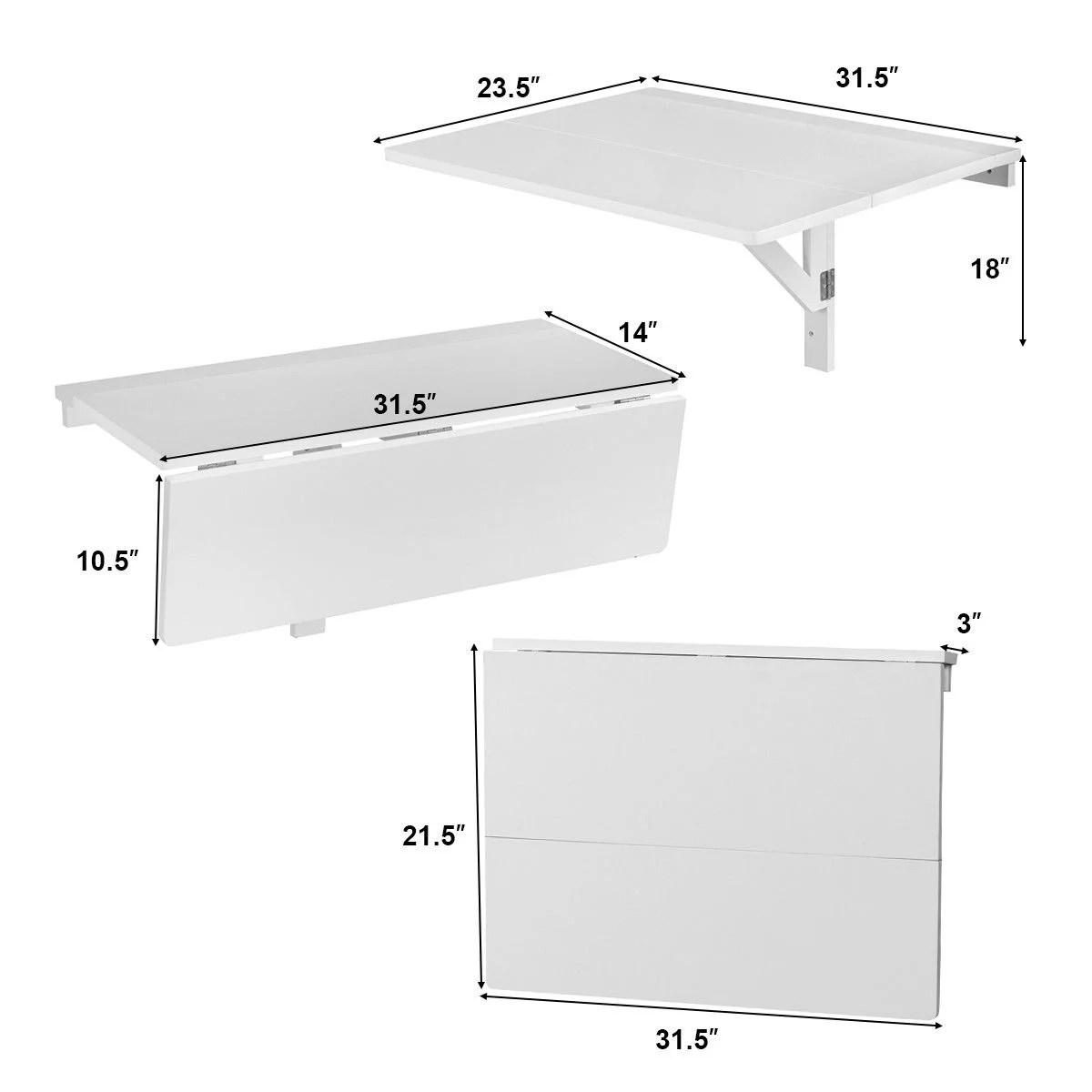 gymax table de cuisine en bois pliante table murale rabattable pour salle a manger chambre salon 80 x 60 x 43 cm blanche