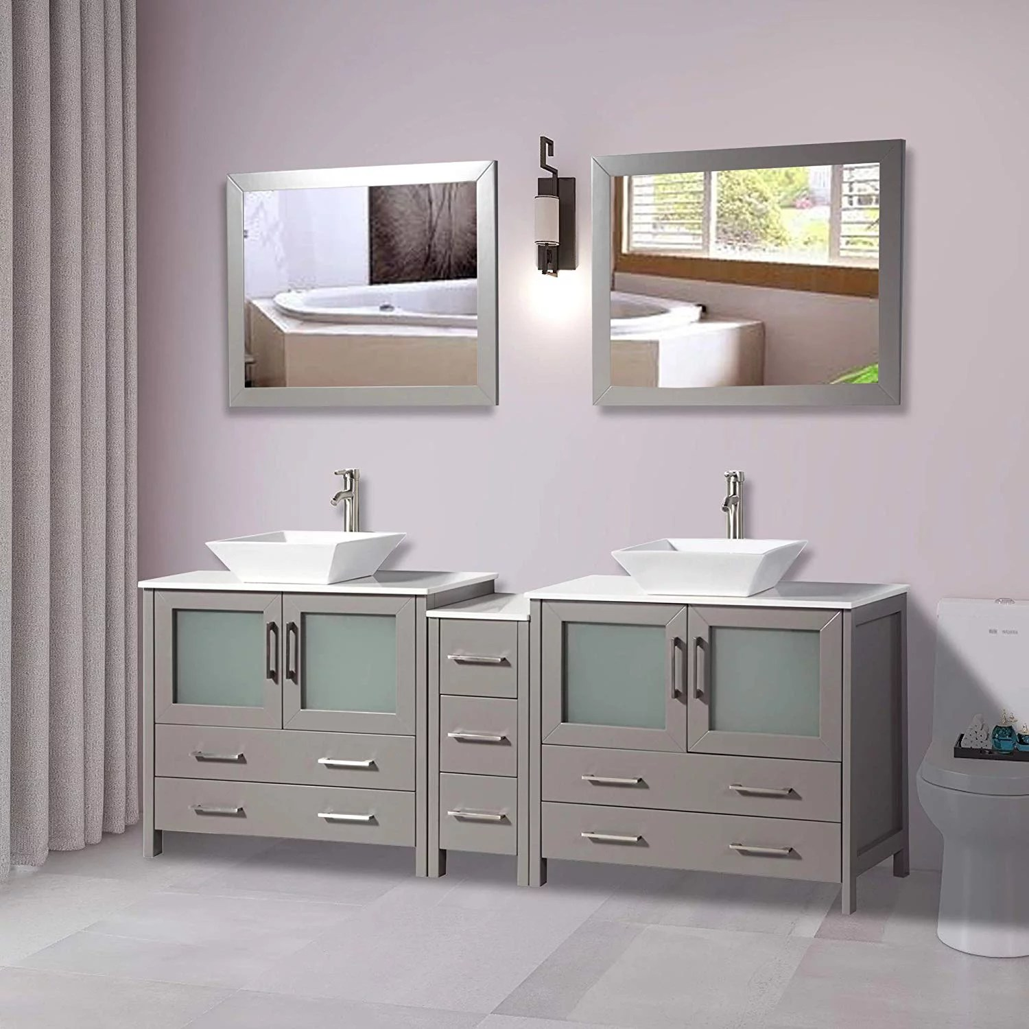 vanity art 84 inches double sink bathroom vanity compact set 3 cabinets 2 shelves 7 drawers quartz top and ceramic vessel sink bathroom cabinet with