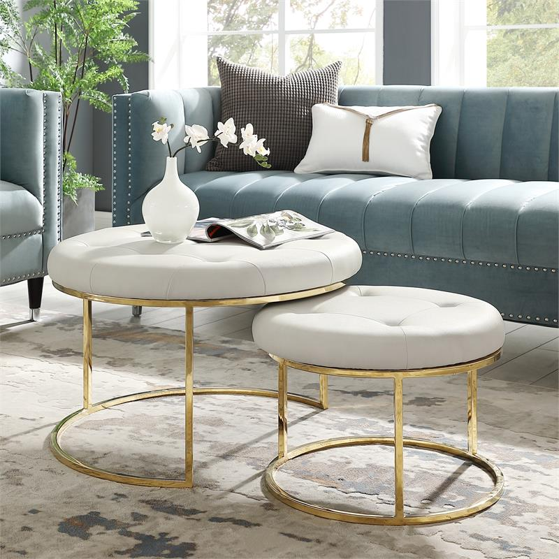 posh living aaden tufted faux leather nesting ottoman in white gold set of 2
