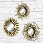 Better Homes Gardens 3 Piece Round Sunburst Mirror Set In Gold Finish Walmart Com Walmart Com